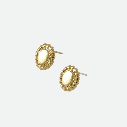 Signature flower Earring - flat gold / long dropoblatt