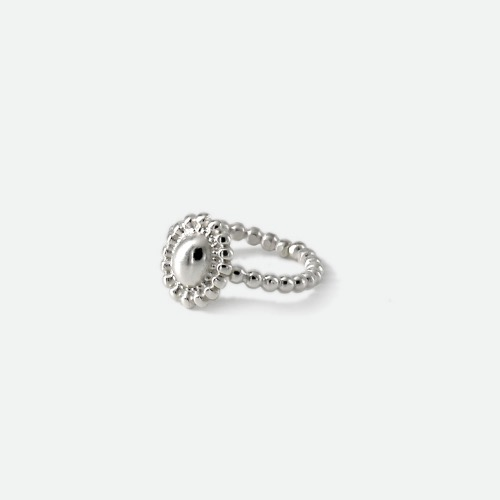 Signature flower open Ring - volume silveroblatt