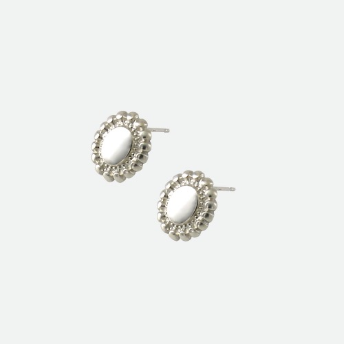 Signature flower Earring - flat silver / long dropoblatt