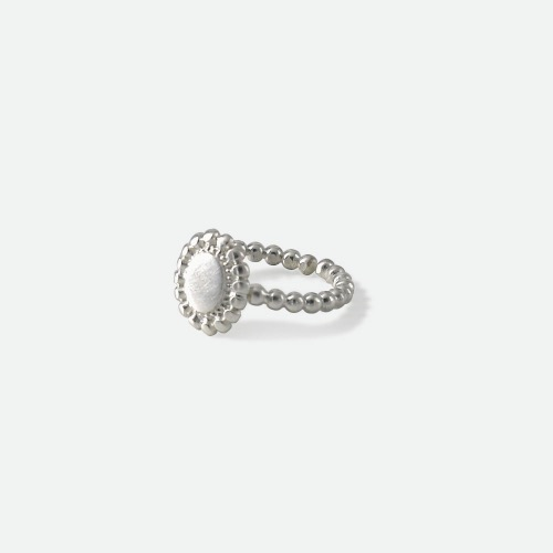 Signature flower open Ring - flat silveroblatt